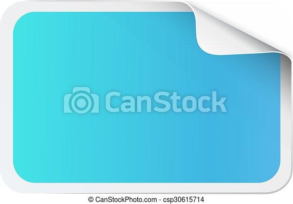 Blue sticker on white - csp30615714