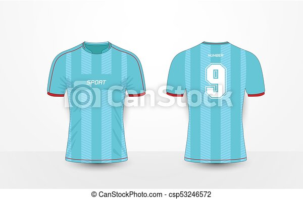 Blue Stripe And Red Pattern Sport Football Kits Jersey T Shirt