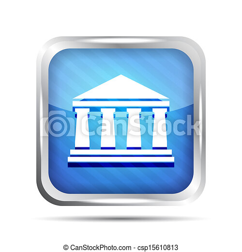 blue striped bank icon on a white background - csp15610813