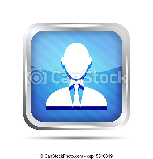 blue striped businessman icon on a white background - csp15610819