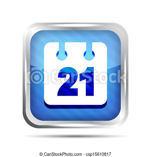 Blue striped date icon on a white background - csp15610817