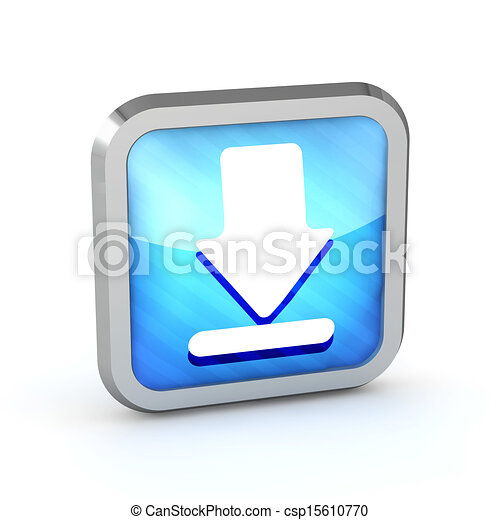 blue striped download icon on a white background - csp15610770