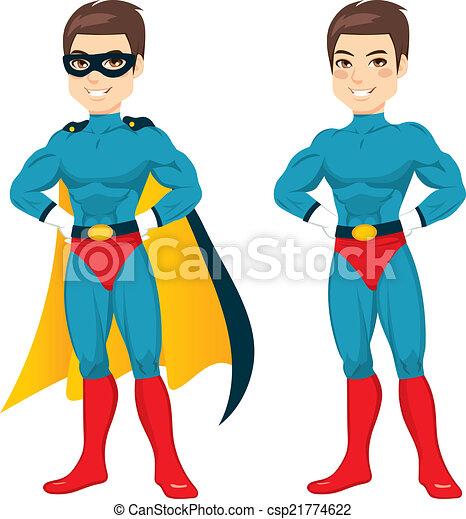 Blue Superhero Man - csp21774622