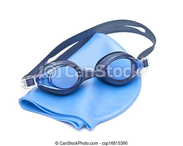 0a7330cffac9 Blue swimming cap and goggles