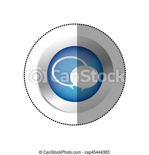 blue symbol round chat bubbles icon - csp45444383