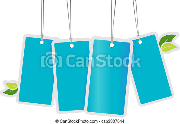 Blue tags with leafs. Vector art - csp3307644