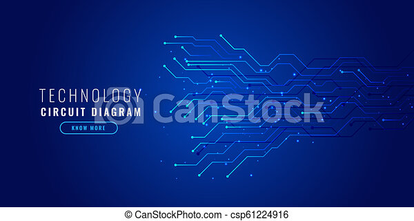blue technology background with circuit diagram - csp61224916