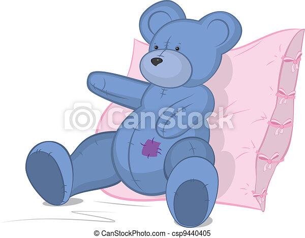 Blue Teddy bear on pink pillow - csp9440405