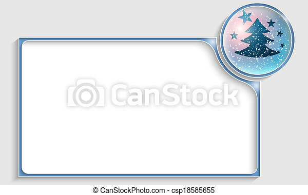 blue text frame with a Christmas tree - csp18585655