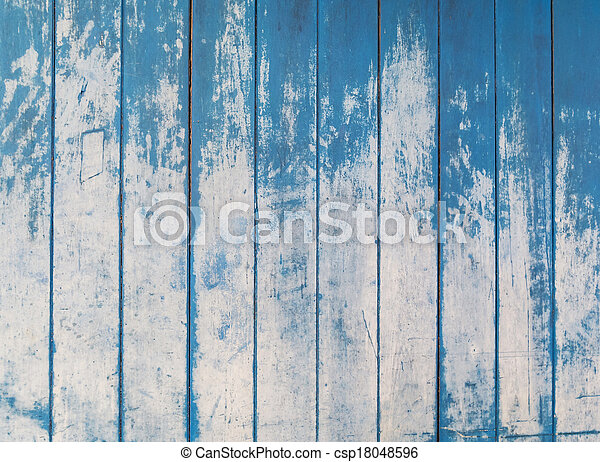 blue texture of rough wooden fence boards background - csp18048596