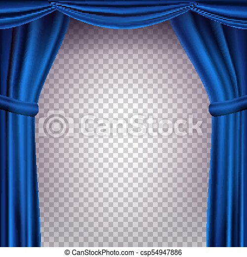 Blue Theater Curtain Vector Transparent Background Banner For Concert Party Dance