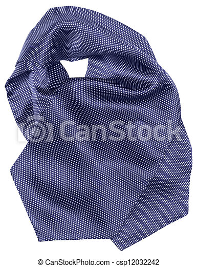 blue tie with white dots isolated on white background - csp12032242