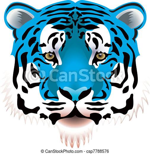 vector illustration of blue tiger head clip art vector search rh canstockphoto com tiger head clip art toothless tiger head clipart drawing