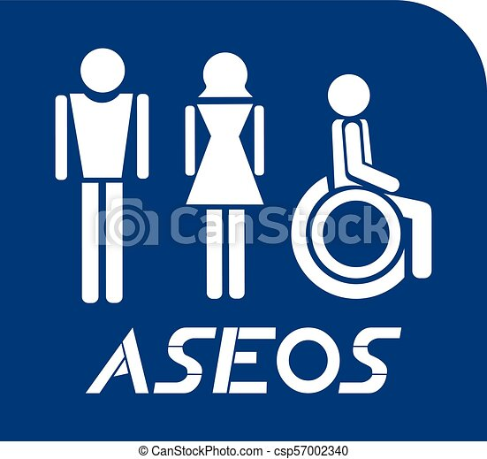 Creative Design Of Blue Toilets Symbol In Spanish