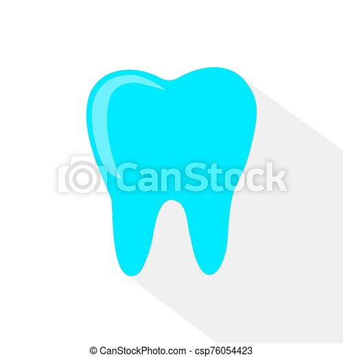 blue tooth. Simple icon with long shadow on a white background. - csp76054423