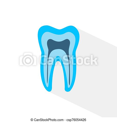 blue tooth. Simple icon with long shadow on a white background. - csp76054426