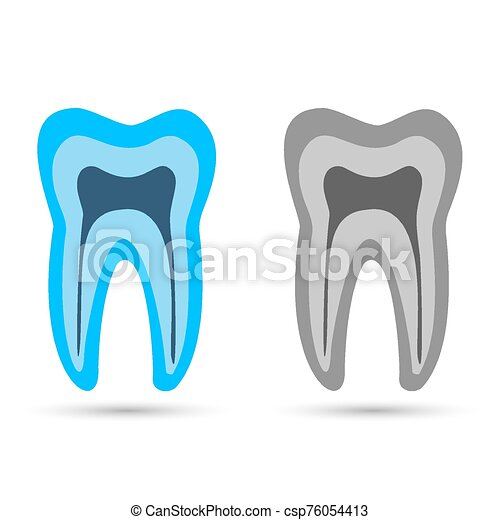 blue tooth. Simple icon with long shadow on a white background. - csp76054413