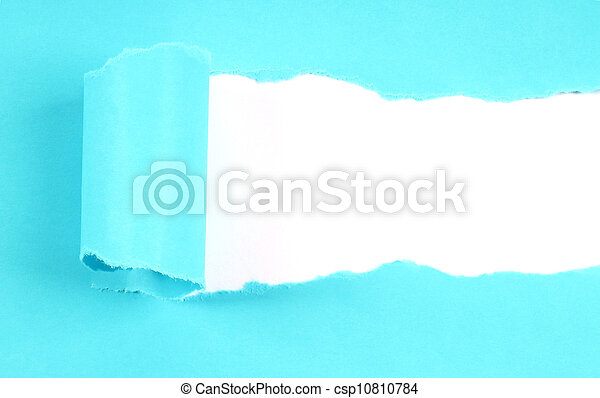 Blue tore paper with copy space close-up - csp10810784