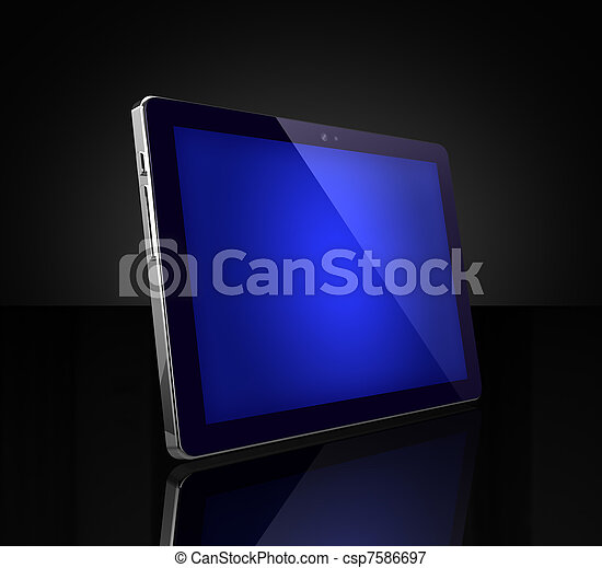 Blue touch screen digital tablet on black - csp7586697