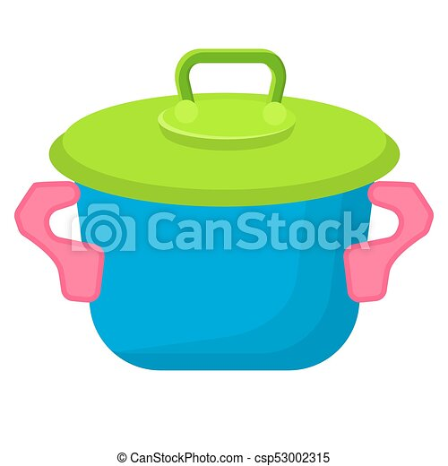 Blue Toy Saucepan with Green Top Illustration - csp53002315