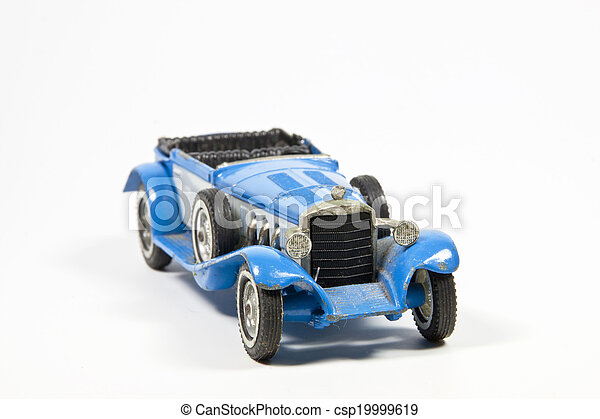 Blue Toy Vintage Model Car on White - csp19999619