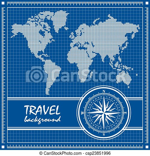Blue Travel Background With Dotted World Map And Compass Rose