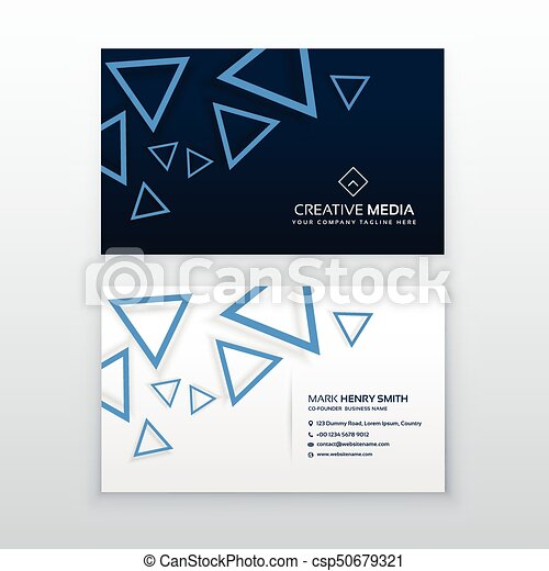 Blue triangle business card vector design template vector blue triangle business card vector design template reheart Image collections