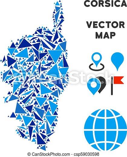Blue Triangle Corsica France Island Map Corsica France Island Map