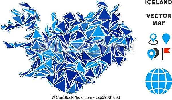 Blue triangle iceland map. Iceland map mosaic of blue triangle ...
