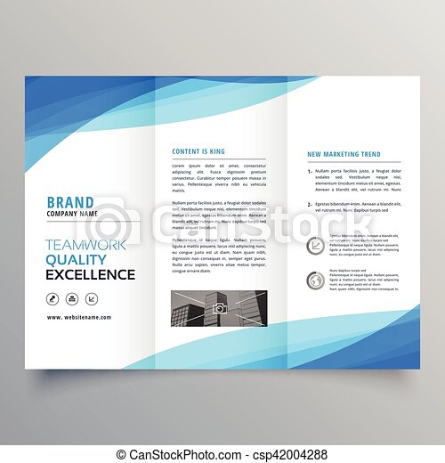 Blue Trifold Business Brochure Design With Wave Vector  Search Clip
