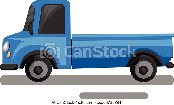 Blue truck cartoon style vector illustration on white background. - csp68738294