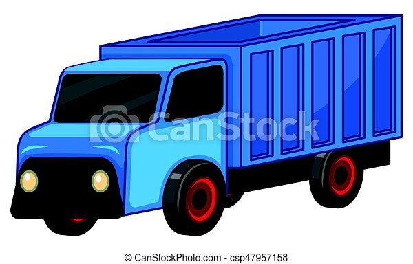 Blue truck on white background - csp47957158