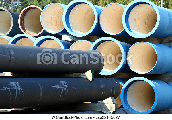 blue tubes for waterworks and sewer system of the city - csp22145627