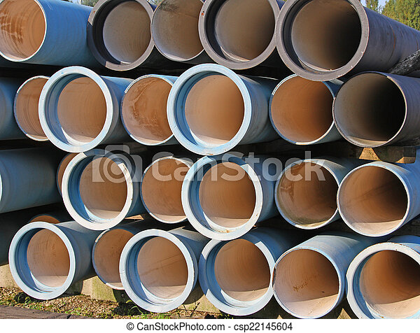 blue tubes for waterworks and sewer system of the city - csp22145604
