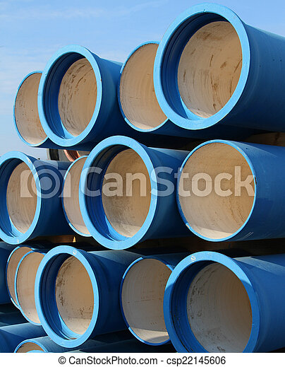 blue tubes for waterworks and sewer system of the city - csp22145606