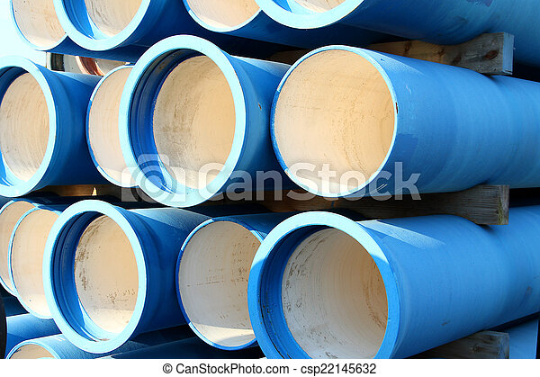 blue tubes for waterworks and sewer system of the city - csp22145632