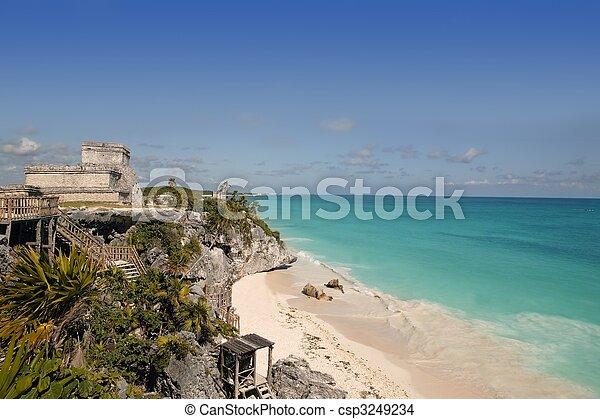 Blue turquoise Caribbean mayan ruins Tulum - csp3249234