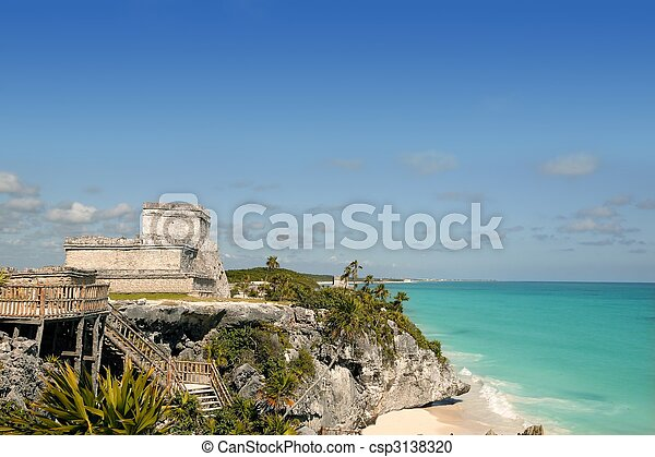 Blue turquoise Caribbean mayan ruins Tulum - csp3138320
