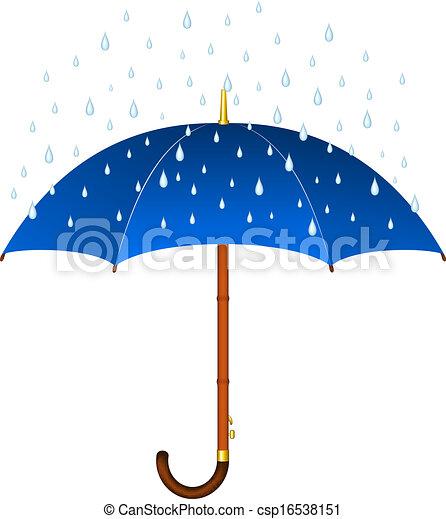 Blue umbrella and rain - csp16538151