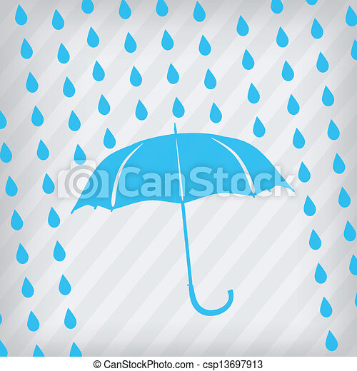 blue umbrella and rain drops - csp13697913
