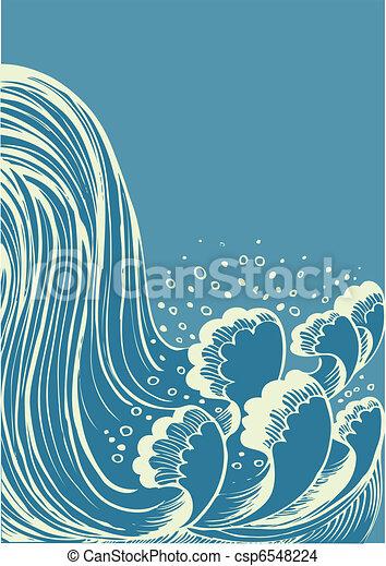 blue víz, waterfall.vector, háttér, lenget - csp6548224