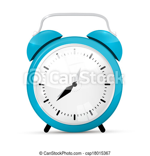 Blue Vector Alarm Clock Isolated on White Background  - csp18015367