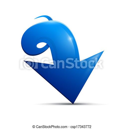 Blue vector arrow on white background - csp17343772