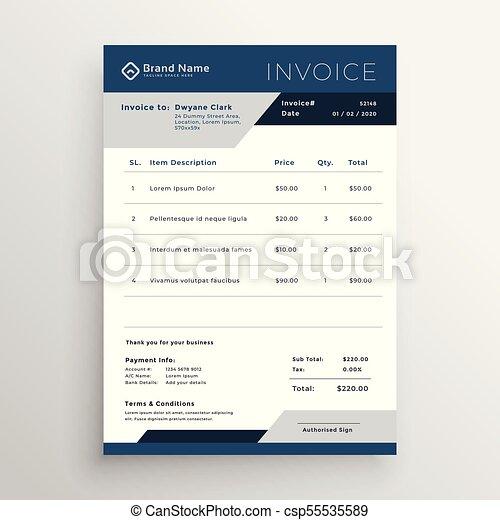 Blue Vector Business Invoice Template Design