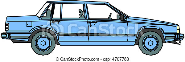 Blue vector car. - csp14707783