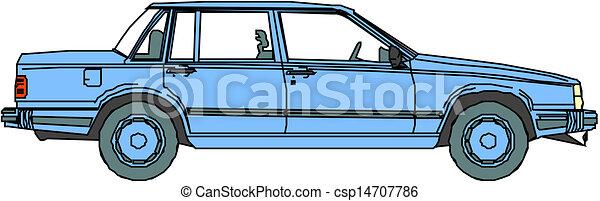 Blue vector car. - csp14707786