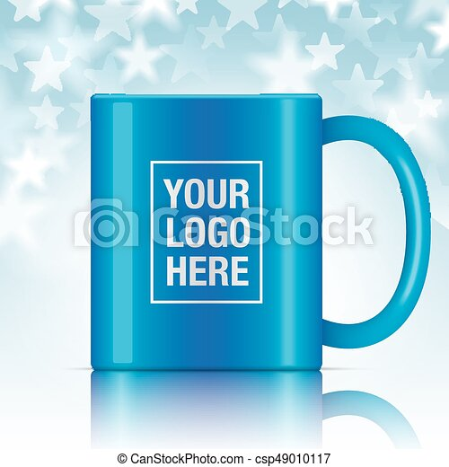 blue vector coffee mug template isolated on a starry background