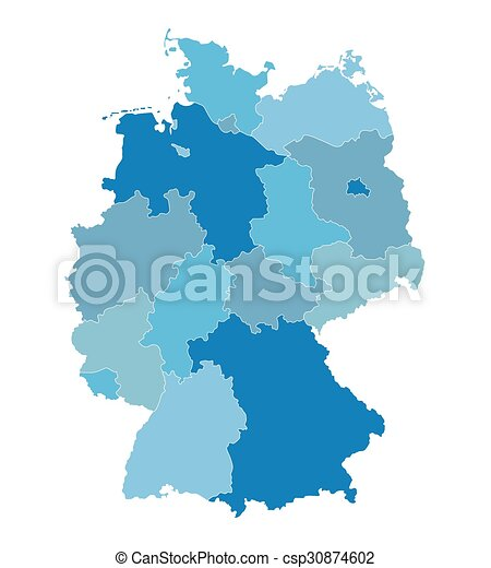 blue vector map of germany all federal states on separate layers