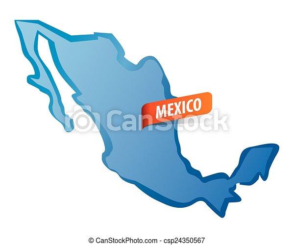 Blue vector Mexico map - csp24350567
