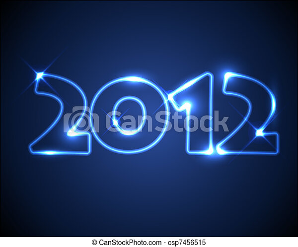 Blue vector neon New Year card 2012 - csp7456515